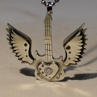 Sterling silver guitar necklace winged guitar necklace silver guitar pendant