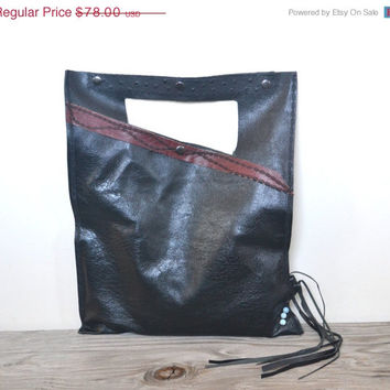 SAVE 20 PERCENT Black Leather Bag - Embroidered Leather Tote Bag -  Upcycled Black Leather Bag