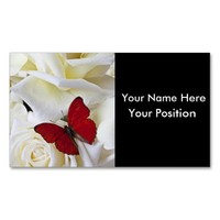 Red Butterfly & White Rose on black Business Cards from Zazzle.com