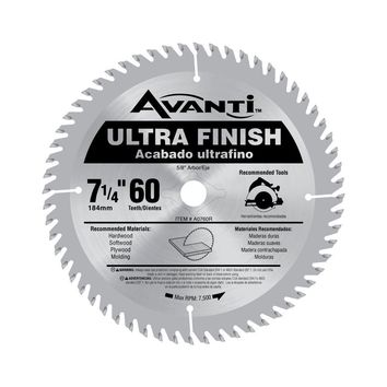 Avanti 7-1/4 in. x 60-Tooth Fine Finish Saw Blade-A0760R - The Home Depot