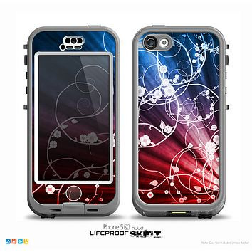 The Blue and Red Light Arrays with Glowing Vines Skin for the iPhone 5c nüüd LifeProof Case