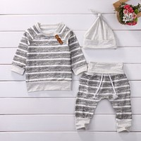 Kids Toddler Baby Girl Boy Clothes Set Long Sleeve Cotton Tops Striped T-Shirts Pants Hat 3pcs Clothing Outfits Set