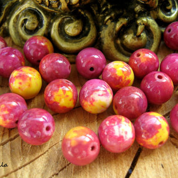 Mookaite bead strand, round gemstone beads, natural stone beads, DIY jewelry, craft supply, mala beads, DIY necklace, DIY bracelet, 10 mm