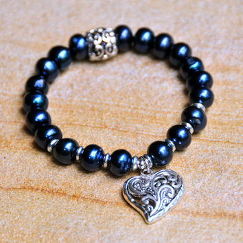 8mm Dyed Navy Blue Fresh Water Pearl Beads with Heart Charm - Women's Custom Fit Bracelet