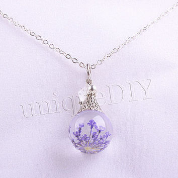 purple flower necklace, real flower necklace, marble jewelry, resin ball charm, pendant necklace, Daisy flowers jewelry