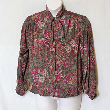 Plus Size Vintage Shirt / Fuchsia Pink Floral Secretary Blouse / Art Deco Neck Tie Shirt