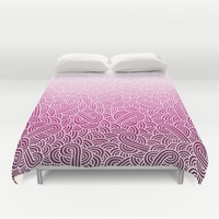 Ombre pink and white swirls zentangle Duvet Cover by Savousepate