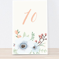 The Crosby- Boho Flowers Wedding Table signs, table numbers, boho wedding signs, table number ideas, numbered table signs, boho floral sign