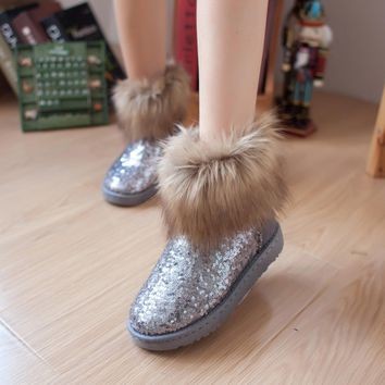 Fashion Women's Sequins Shoes Warm Fringed Fur Winter Snow Casual Boots