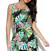 Sleeveless Tropical Print Pleated Dress with Cinched Waist