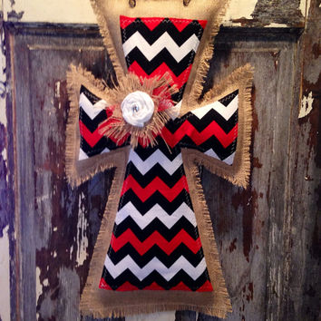 Medium Red and Black Chevron Burlap Cross