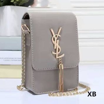 YSL Women Tassel Square Shopping Leather Metal Chain Crossbody Satchel Shoulder Bag
