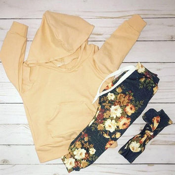 Baby girl clothes girl clothing toddler clothing toddler outfit girl outfits baby outfits newborn girl outfit peach hoodie floral pants baby