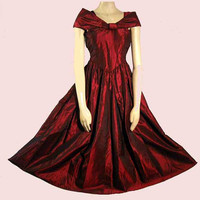 Vintage Party Dress Dark Red Changeable Taffeta Formal Prom Spring Dance XS
