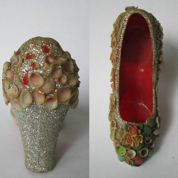 Vintage 1940s Shoe Ornament Pincushion / Seashells Glitter Red Plastic Shoe