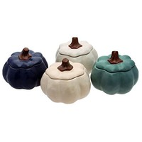 Pumpkin Soup Bowls, Set of 4, Set of 4 pumpkin shaped soup bowls with coordinated stemmed lids By Boston International - Walmart.com