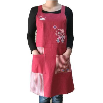 Bodecin Red Dark Blue Hello Kitty Denim Apron Japanese Woman Kitchen Avental de Cozinha Divertido Tablier Cuisine Pinafore Apron