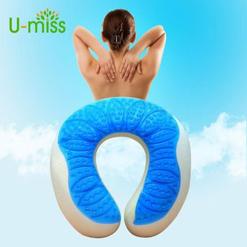 U-Miss U Shape Spa Gel Pad Rest Body Back Massage Overlay Silicone Face Travel Neck Latex Cervical Pillow Cradle Cushion