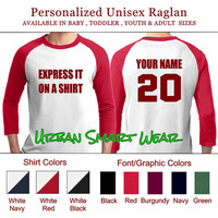 Express it on a Shirt Number Jersey. Personalized Raglan | Sport Team Football Basketball Baseball Softball Soccer Hockey Volleyball 10168