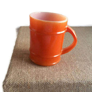 Orange, Anchor Hocking barrel mug, 1970s vintage