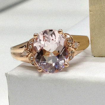 8x10mm Oval Morganite Engagement Ring 14K Rose Gold!Full Cut Diamond Wedding Bridal Ring,Floral Design,Split Shank,Plain gold band,Can match