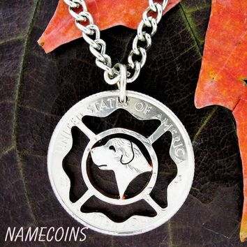 Fireman and fire dog necklace, firefighters hand cut coin