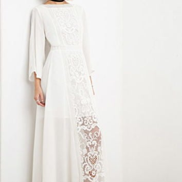 The Allflower Crochet Chiffon Maxi Dress