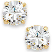 kate spade new york Earrings, 12k Gold-Plated Clear Crystal Round Stud Earrings