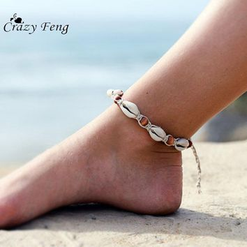 2017 New Fashion Jewelry Handmade Bohemia Women's Barefoot  Rope Foot Bracelet Beaded Shell Beach Anklets Jewelry Summer Style