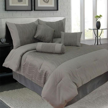 Lavish Home 7 Piece Queen Emily Jacquard Comforter Set