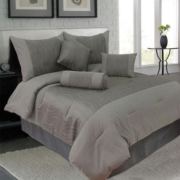 Lavish Home 7 Piece King Emily Jacquard Comforter Set