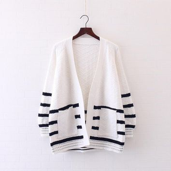 Women Poncho Coat Spring Fall Loose Sweater Cardigans Striped Crochet College Cardigan Coat