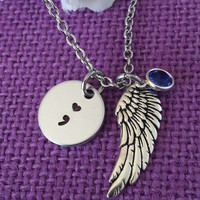 Semicolon Necklace - Semicolon Jewelry - Suicide Loss - Suicide Awareness - Suicide Memorial - Remembrance - Sympathy gift - heart semicolon