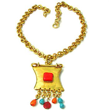 CHRISTIAN LACROIX gold tone metal with vintage charm necklace