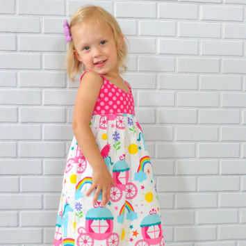 Girls Unicorn and Rainbows Princess Dress Boutique Clothing by Lucky Lizzy's