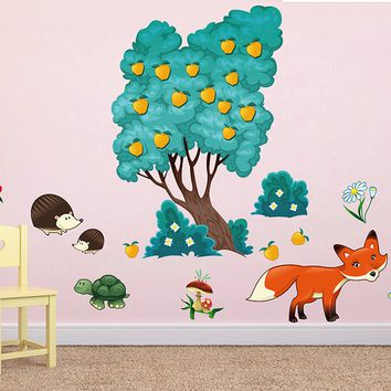 cik1660 Full Color Wall decal bedroom children's room decor Custom Baby Nursery on bed baby tree nusery decal tree forest animals