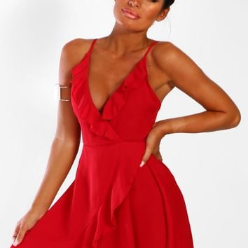 Seville Nights Red Frill Wrap Mini Dress