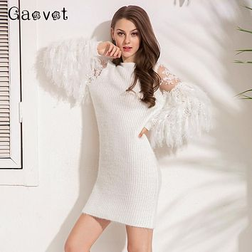Gaovot Winter Women Dresses Series Spring Mesh Patchwork Knitted Sweater Dress Casual Bodycon Tassel Sexy Vestidos SA171116