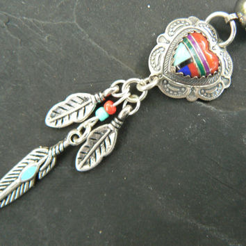 tribal heart belly ring dreamcatcher sterling gemstone inlay turquoise  native american tribal belly dancer boho dancer tribal fusionr style