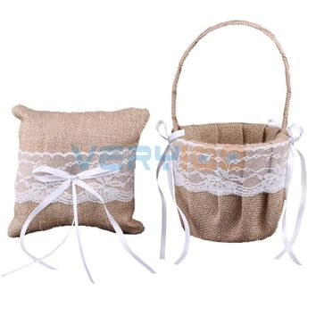 "NEW Burlap Jute Floral Lace Flower Girl Basket, Ring Bearer Pillow 6"" Rustic Wedding Free Shipping"