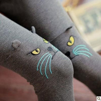 Stereoscopic Cat Printed Knitted Leggings