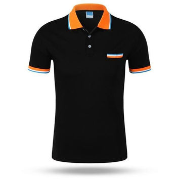 Summer Mens Contrast Color Turndown Collar Short Sleeved Casual Polo Shirts