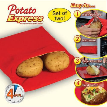 Popular Potato 4 Minutes Express Cooker Bag Polyester Fabric For Microwave Bake Cooking Fast (Size: 20cm by 25cm, Color: Red)