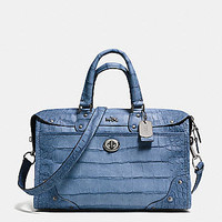 Rhyder Satchel in Croc Embossed Denim Leather