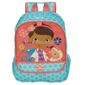 Fashion Doc McStuffins Girls School Bag Cute Cartoon Kindergarten Schoolbag For Children Kids Backpack Bags