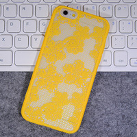 Womens Vintage Yellow Lace iPhone 5S 6 6S Plus Case Solid Cover + Nice Gift Box 445