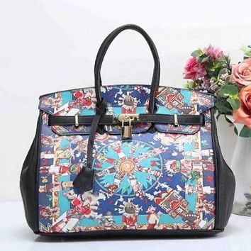 Gotopfashion Hermes Women Shopping Leather Tote Crossbody Satchel Shoulder Bag Handbag Black Blue I-LLBPFSH