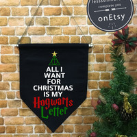 Harry Potter Christmas baner flag hanging wall banner flag, Hogwarts Letter, wall hanging decoration funny gifts
