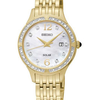 Seiko Solar Womens 30 Diamond & Mother of Pearl Gold-Tone Dress Watch - Date