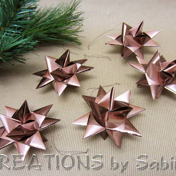 Moravian Ribbon Stars / Set of 5 / German Froebel Advent Christmas Danish Swedish Polish Origami 3D Stars / shiny brown / READY TO SHIP (25)